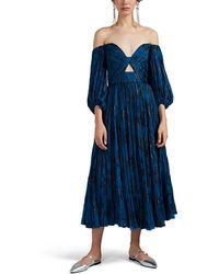 J. Mendel Metallic-floral Plissé Chiffon Off-the-shoulder Dress - Blue