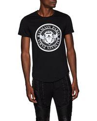 Balmain - Logo-flocked Cotton T-shirt - Lyst