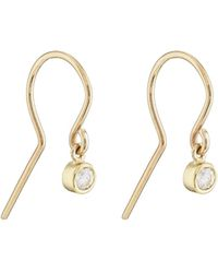 Jennifer Meyer Diamond Bezel Drop Earrings - Yellow