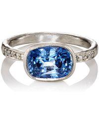 Malcolm Betts - White Diamond & Blue Sapphire Ring - Lyst