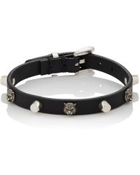 Gucci | Leather & Silver Buckled Bracelet | Lyst