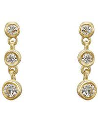 Tate - Round White Diamond Strand Earrings - Lyst