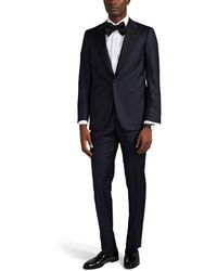 Isaia - Sanita Grosgrain-trimmed Wool One-button Suit - Lyst