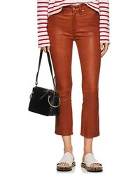 Rag & Bone - Hana Leather Mid-rise Straight Jeans - Lyst