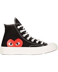 Play Comme des Garçons - Large Emblem High Top Canvas Sneakers - Lyst