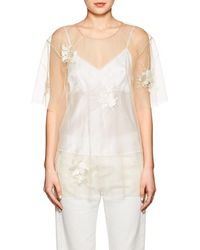 Helmut Lang - Embroidered Sheer Tulle Top - Lyst