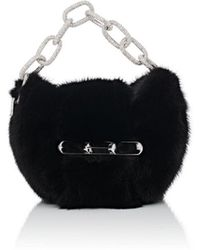 Lyst - Alexander Wang Fur Zip Clutch Black in Metallic c459029aa27ed