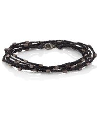 Feathered Soul - Hematite Beads On Silk Cord - Lyst