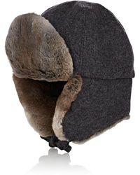 Crown Cap - Fur-trimmed Melton Aviator Hat - Lyst