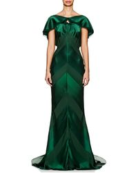 Zac Posen - Shadow-striped Crepe Gown - Lyst