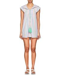 Thierry Colson - Eros Striped Cotton Poplin Hooded Short Caftan - Lyst