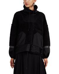 Undercover - Satin-trimmed Wool Fleece Sweatshirt - Lyst