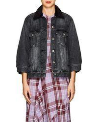 Sacai - Faux-shearling-collar Denim Jacket - Lyst