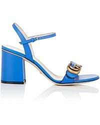 c30c4e5d61b Lyst - Gucci Marmont Gg Flora-print Leather Block-heel Sandals in Blue