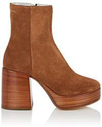MM6 by Maison Martin Margiela - Suede Platform Ankle Boots - Lyst