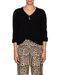 ATM - Nubby Crop V-neck Sweater - Lyst