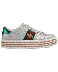 Gucci - New Ace Quilted Leather Platform Trainers - Lyst