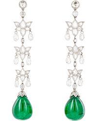Munnu - Women's Long-lotus Drop Earrings - Lyst