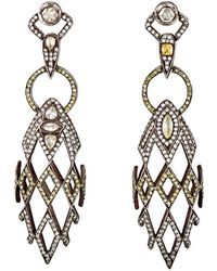 Sevan Biçakci - White & Yellow Diamond Double-drop Earrings - Lyst