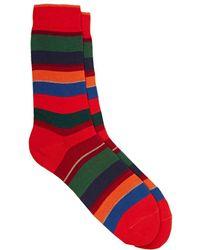Barneys New York - Variegated-stripe Cotton-blend Mid - Lyst