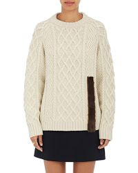 Harvey Faircloth - Fur-trimmed Cable-knit Sweater - Lyst