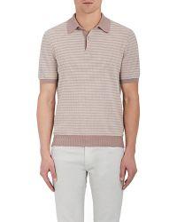 Ermenegildo Zegna - Striped Cotton Polo Shirt - Lyst