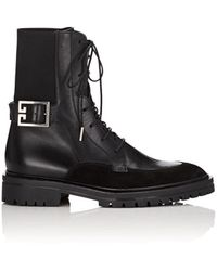 Givenchy - Logo-buckle Leather & Suede Ankle Boots - Lyst