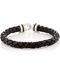 Zadeh | Sterling Silver & Braided Leather Bracelet | Lyst