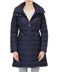 b6c2f8fa4 Moncler Flammette Down Coat in Blue - Lyst