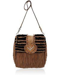Fendi - Striped Fur Shoulder Bag - Lyst