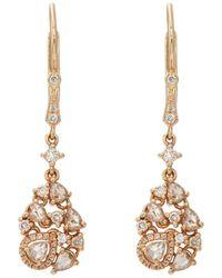 Zoe - Diamond Cluster Drop Earrings - Lyst