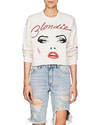 MadeWorn - blondie Distressed Cotton-blend Crop Sweatshirt - Lyst