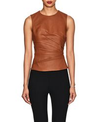 Narciso Rodriguez - Ruched Leather Top - Lyst