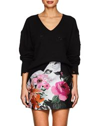 Helmut Lang - Distressed Cotton-wool V-neck Sweater - Lyst