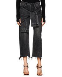 Alexander Wang - Stack Tie Crop Wide-leg Jeans - Lyst