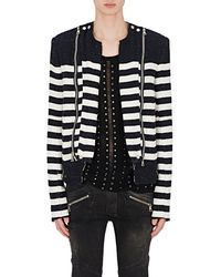 Balmain - Striped Cotton-blend Bouclé Biker Jacket - Lyst