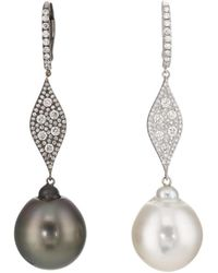 Samira 13 - Pearl & White Diamond Mismatched Drop Earrings - Lyst