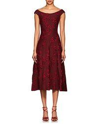Zac Posen - Floral Jacquard Flared Dress - Lyst