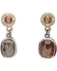 Zoe - Brown & White Diamond Drop Earrings - Lyst
