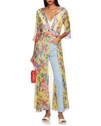 We Are Leone - Floral Silk Chiffon Robe - Lyst