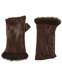 Barneys New York - Rabbit-fur-lined Leather Fingerless Gloves - Lyst