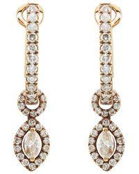 Zoe - Diamond & Chocolate Gold Drop Earrings - Lyst