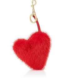 Anya Hindmarch - Heart-shaped Mink Fur Bag Charm - Lyst