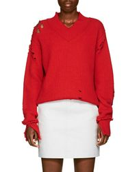 Helmut Lang - Distressed Wool V-neck Sweater - Lyst