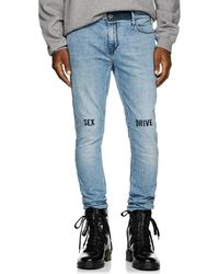 RTA - Embroidered Skinny Jeans - Lyst
