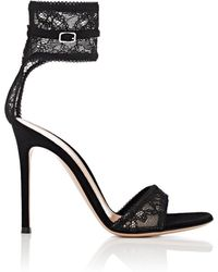 Gianvito Rossi - Halle Lace & Suede Sandals - Lyst