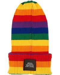 Marc Jacobs - Striped Rib-knit Cotton Beanie - Lyst