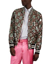 59561449a Gucci Stamp-print Satin Bomber Jacket in White for Men - Lyst