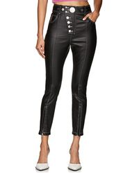 Alexander Wang - Button-detailed Coated Cotton-blend Pants - Lyst