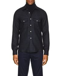 Kiton - Plaid Wool-cashmere Shirt Jacket - Lyst